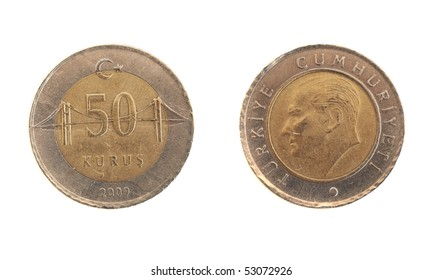 Front and Back view of a Turkish 50 Kurus Coin on a white background