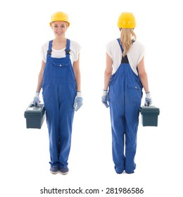 front and back view of woman in blue builder uniform with toolbox isolated on white background