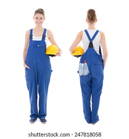 front and back view of young attractive woman builder in workwear isolated on white background