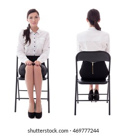 front and back view of young woman sitting on office chair isolated on white background
