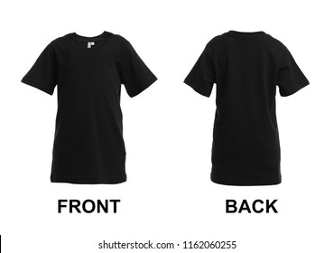 Front and back views of blank black t-shirt on white background