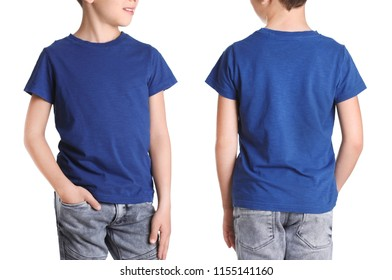 Front and back views of little boy in blue t-shirt on white background. Mockup for design