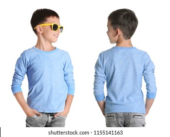 Front and back views of little boy in long sleeve t-shirt on white background. Mockup for design