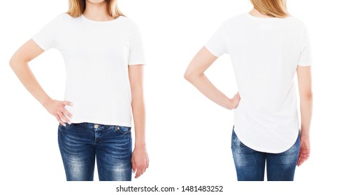 front back views t shirt isolated on white background, t-shirt collage or set,girl shirt