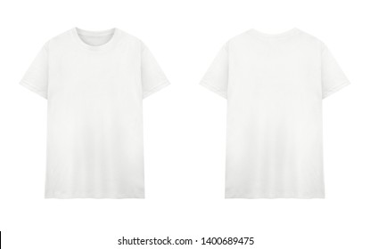 Front and back views of white t-shirt on white background
