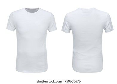 42dbd91b4 Front and back views of white t-shirt on white background with paths