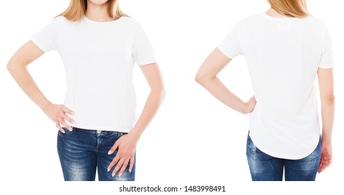 front back views woman t-shirt,white tshirt set isolated,mock up