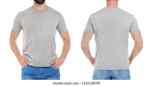 Front and back views of young man in grey t-shirt on white background. Mockup for design