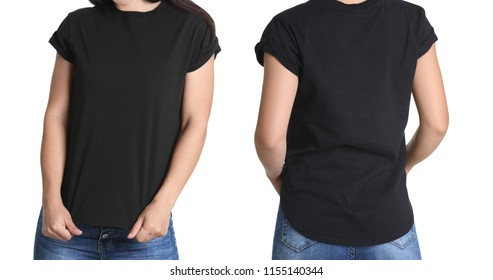 Front and back views of young woman in black t-shirt on white background. Mockup for design