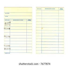 Front and back of a vintage library book due date card from the 1960s isolated on a white background.  Names have been digitally removed as well as the title and author of the book.