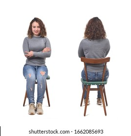front an back of a woman sitting on chair on white background, arms crossed