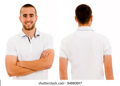 Front and back of a young casual against white background