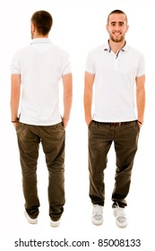 Front and back of a young casual man full body standing isolated over white