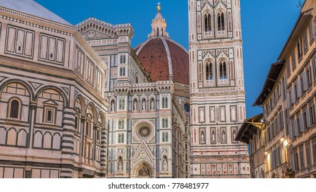 The front of The Basilica di Santa Maria del Fiore day to night timelapse which is the cathedral church (Duomo) of Florence in Italy. Evening illumination. Bell tower and dome