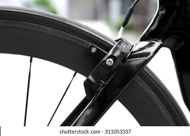 Front bicycle break with carbon fiber wheel