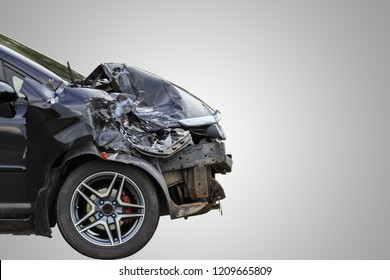 Front of black car get damaged by accident on the road. Isolated on white background. Saved with clipping path