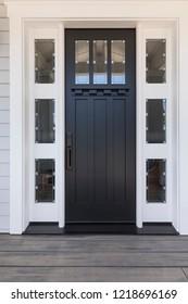 Front black door, close up
