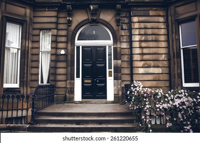 Front black door in Edinburgh, Scotland, UK