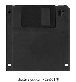 Front black floppy disk.