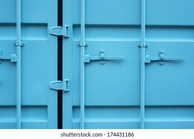 Front of a blue cargo container.