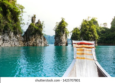 In Front of Boat Beautiful View Landscape at Chiao Lan Dam Khao Sok National Park in Thailand Holiday