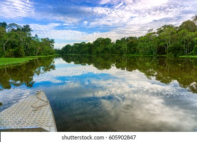Front of a boat on a river in the Amazon Rain Forest near Iquitos, Peru