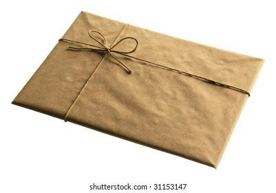 front of brown envelop on the white background