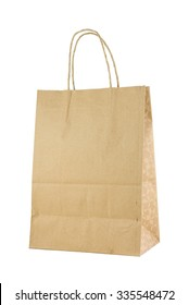 Front of brown kraft paper bag. It is isolated on white background.