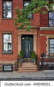 the front of a brownstone building