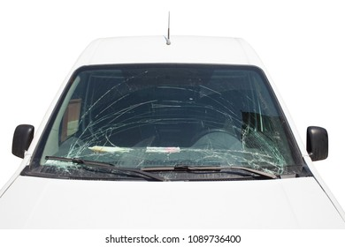 front of car with broken windscreen isolated