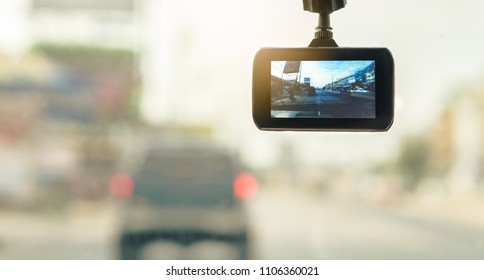 Front Car Camera Recorder for backup Evidence in Road Accident, Safety First Concept