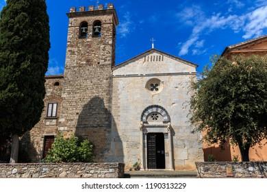 The front of the Catholic Church Chiesa di San Giusto, in Suvereto, Tuscany, Italy