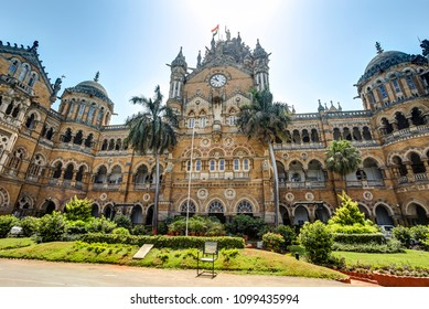 In front of  Chhatrapati Shivaji Terminus (formerly Victoria Terminus) a historic railway station and a UNESCO World Heritage Site in Mumbai, Maharashtra, India.