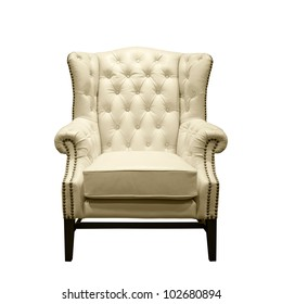 Front of Classic Chesterfield luxury White Leather armchair on White