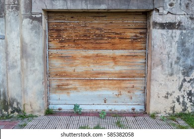 The front of a closed shop in a small town in Argentina.