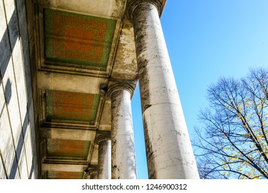 Front colonnade of Haus Der Kunst museum and art gallery in Munich Germany