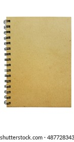 Front cover of recycled notebook paper on white background isolated.
