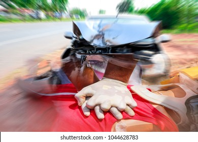 Front damaged of the car which were severely by accident after collision with other vehicles automobiles on street,Rescuer Cardiopulmonary resuscitation (CPR) first aid for safe life.