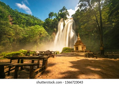 Front of Dat Taw Anisakan falls, small buddist temple at waterfall at Pyin Oo Lwin,Mandalay state Myanmar
