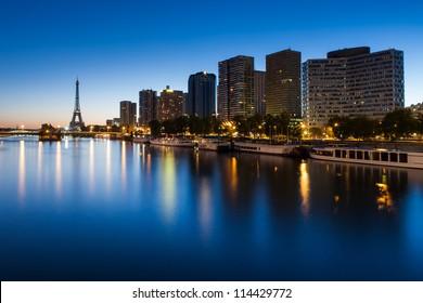 Front de Seine and Eiffel tower at blue hour, Paris