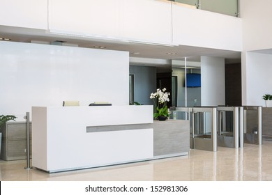 The front desk at a business center in a modern style