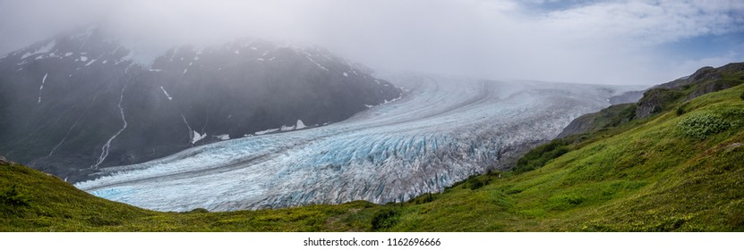 Front detail view of Exit glacier under the clouds, Alaska