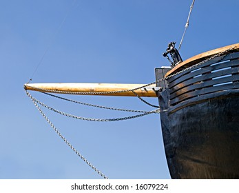 Front details of a prow of an old wooden boat