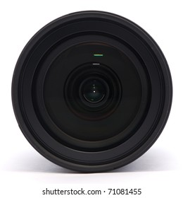 Front of a digital single lens reflex camera lens on a white background