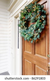 Front door decorated for the holidays