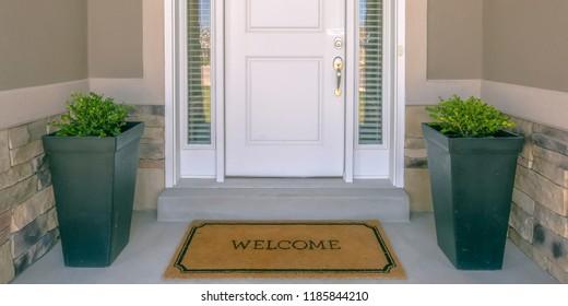 Front door with doormat plants and glass panel