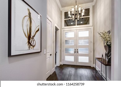 Front door entrance to modern house with hardwood floors