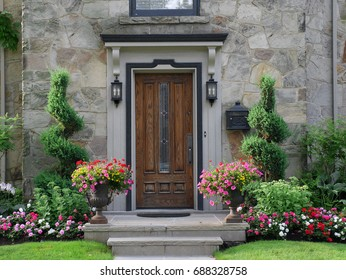 front door with flowers