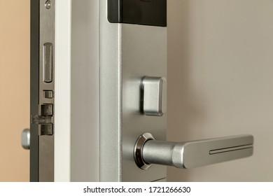 the front door with a door handle
