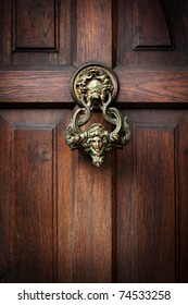 Front door with a handle in the form of the head of Castle Dracula in Transylvania